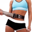 Athlete fastening belt — Stock Photo