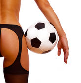 Back of sexy girl with ball — Stock Photo