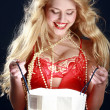 Beautiful sexy woman with gift — Stock Photo #1401904