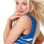 Girl in light blue sleeveless jacket — Stock Photo #1498788