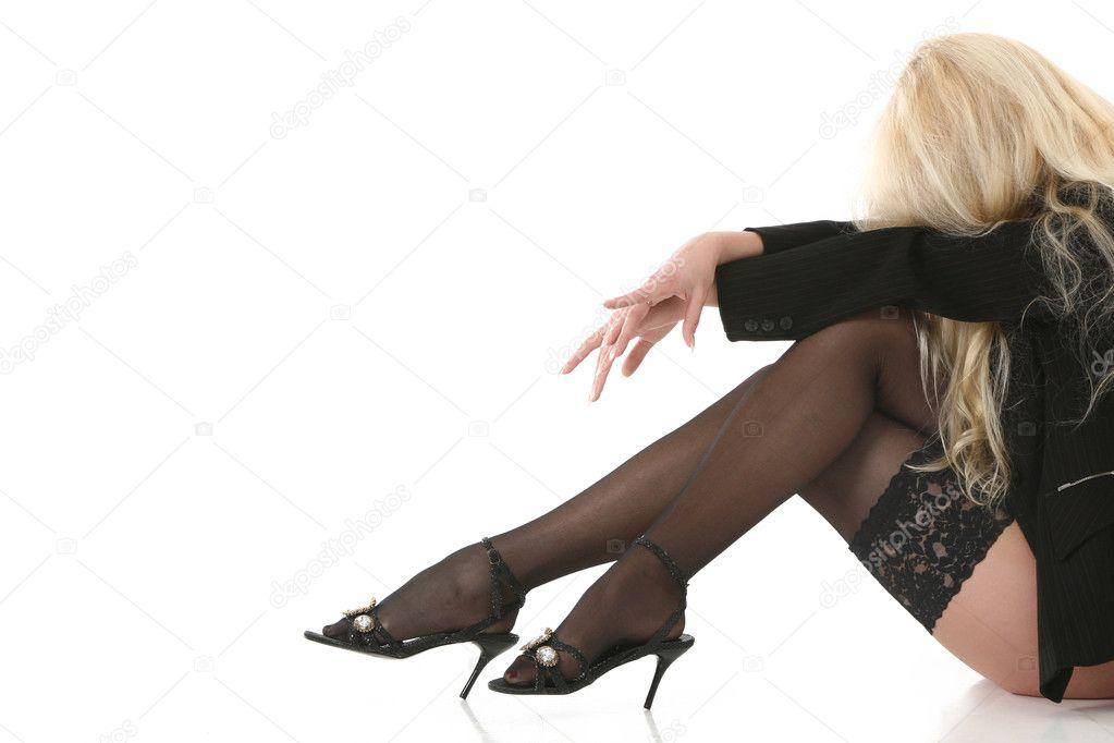 sch ne blondine in str mpfen stockfoto vitcom 1499219. Black Bedroom Furniture Sets. Home Design Ideas
