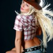 Rodeo cowgirl with cowboy hat — Stock Photo #1515676