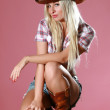 Pretty girl with cowboy hat — Stock Photo