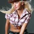 Stock Photo: Pretty woman with cowboy hat