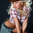 Pretty woman with cowboy hat - Foto Stock