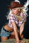 Pretty woman with cowboy hat — Stock Photo
