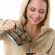 Beautiful woman with hot tea — Stock Photo