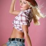 chica rodeo que llevaba un sombrero de vaquero — Foto de Stock