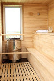 Wooden dry (finnish) sauna — Stock Photo