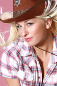 Portrait of beautiful rodeo girl — Stock Photo