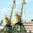 Two old yellow harbor crane — Stock Photo #1597337