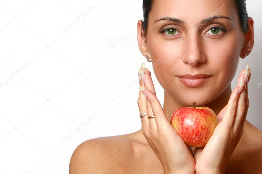 Beautiful girl with red apple — Stock Photo #1596662