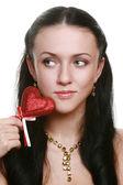 Corazón de tenencia roja chica — Foto de Stock