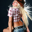 Beautiful sexy woman with cowboy hat — Stock Photo