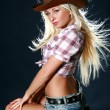 Rodeo girl in sheriff hat — Stock Photo