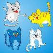 Four amusing cats — Image vectorielle