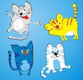 Four amusing cats — Stock Vector