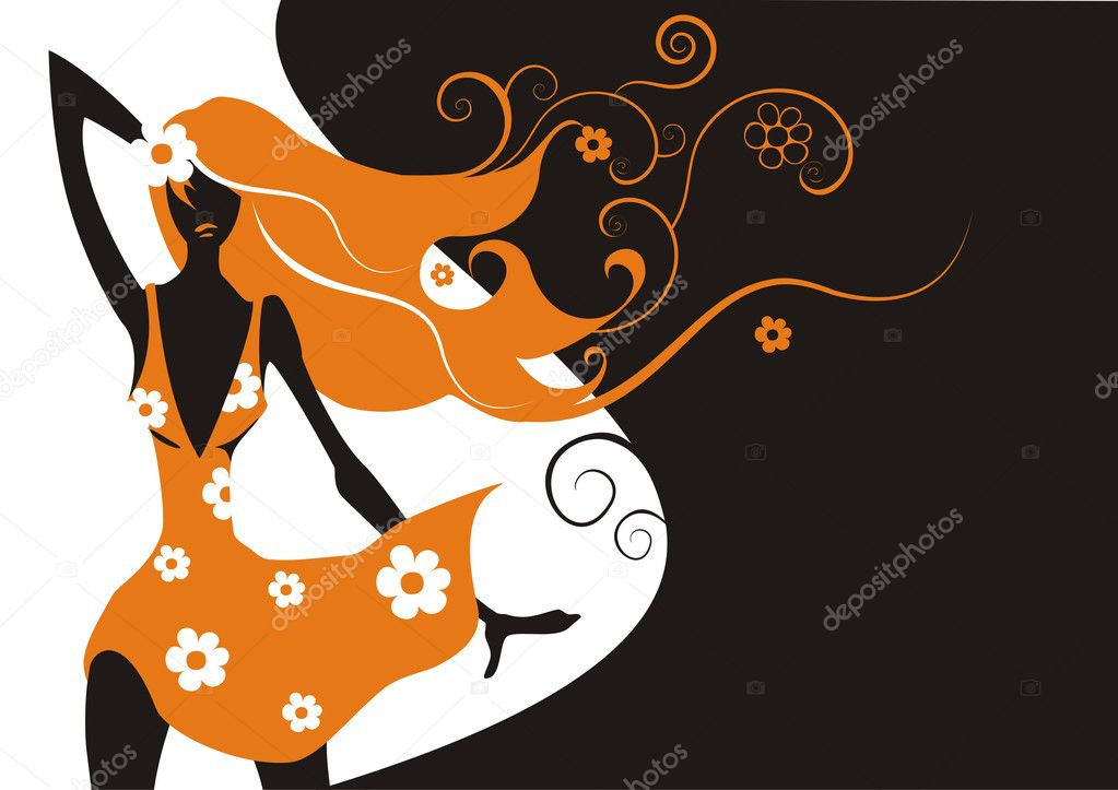 Beautiful fashion woman on a floral background  — Stock Vector #1418589