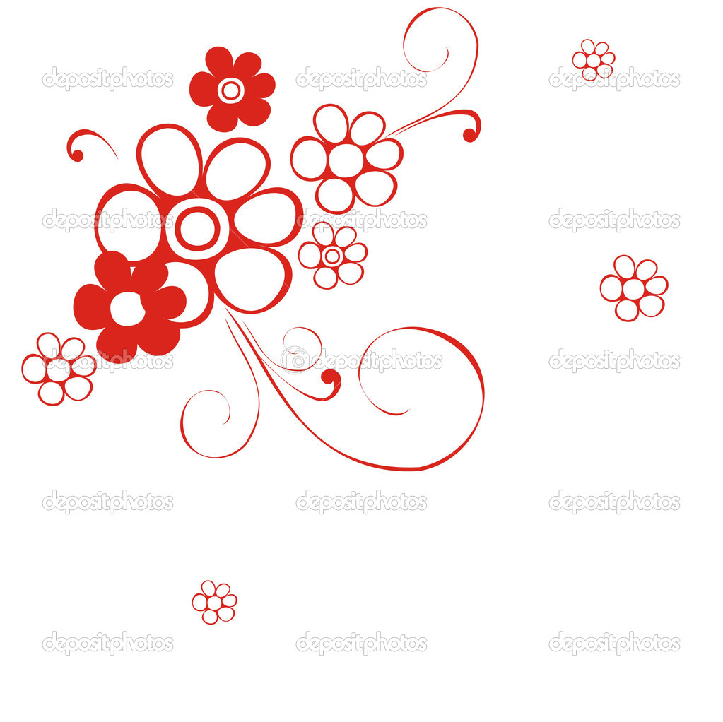 The original monochrome background with a red flower — Stock Vector #1420583