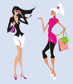 Two fashion women go shopping — Stock Vector