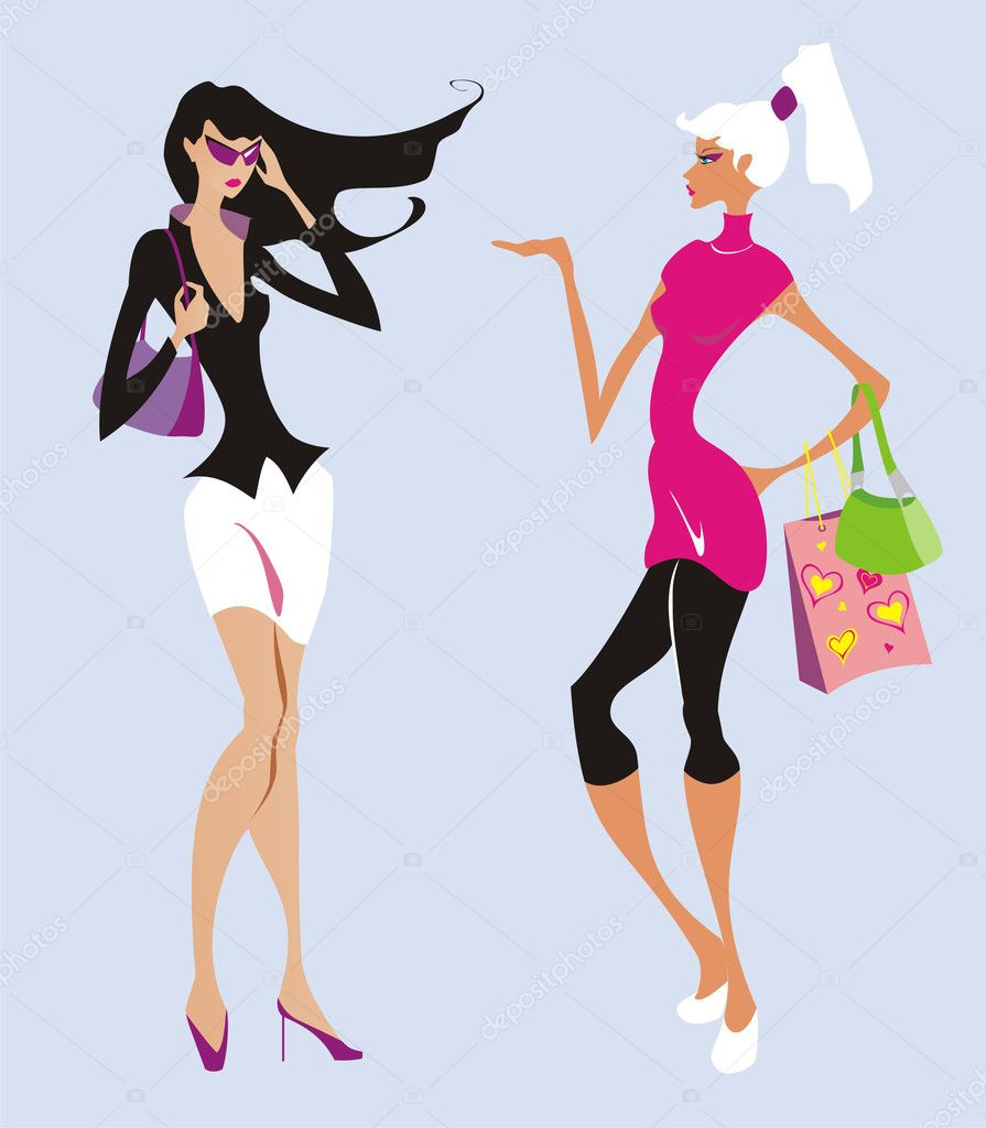Two beautiful fashion women go shopping — Stock Vector #1431437