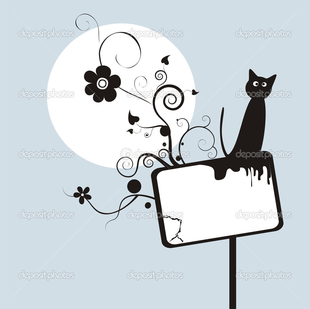 Grunge background with flower and cat — Stockvectorbeeld #1444586