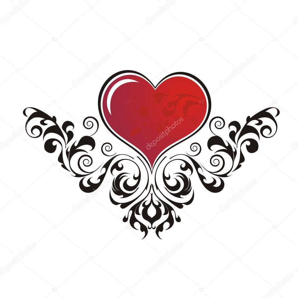 Черное сердце эскиз тату