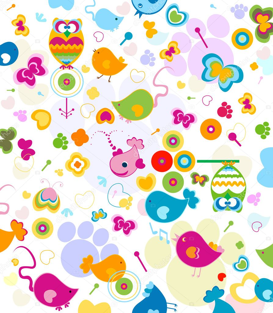 Animals seamless pattern, design fir kids — Stock Photo #1592599