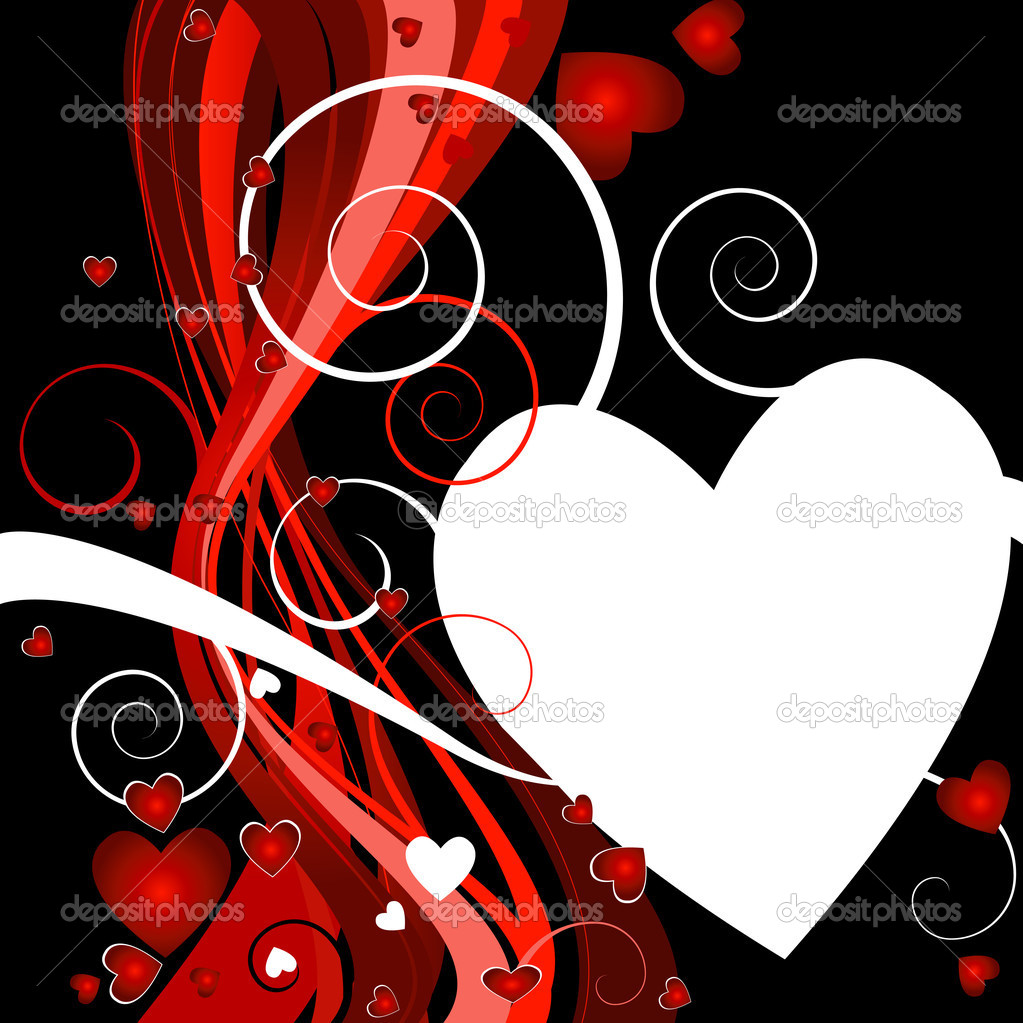Floral heart background for valentine`s day  Stock Photo #1605405