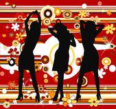Retro arka plan ve silhouettes — Stok fotoğraf