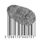 Fingerprint with bar code — Stock Photo