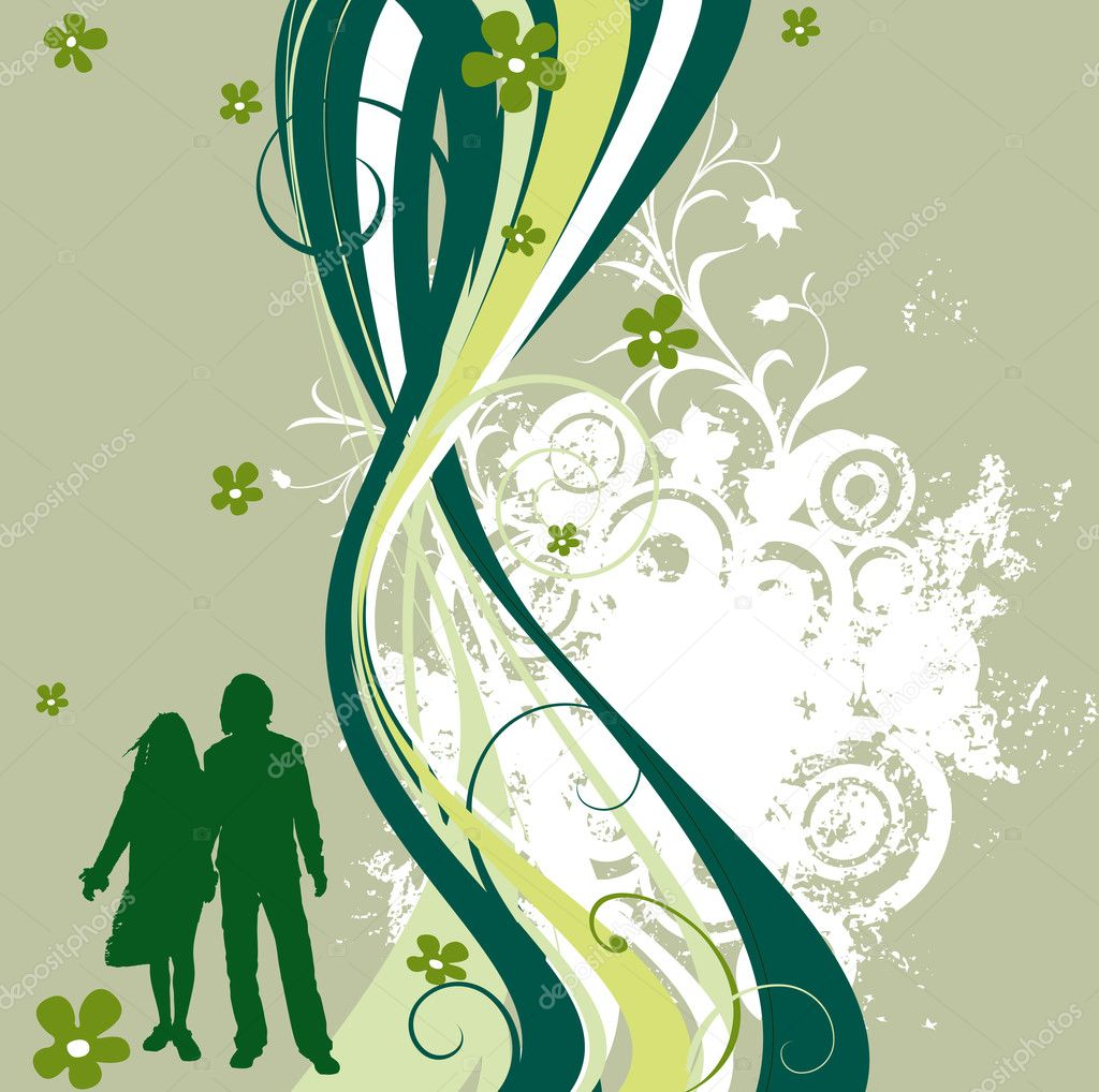 Creative design with foliage, circles and a couple silhouettes — Stock Photo #1616795