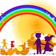 Kids and rainbow — Foto de Stock