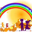 Kids and rainbow — Stockfoto
