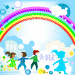 Kids and rainbow — Stock Photo