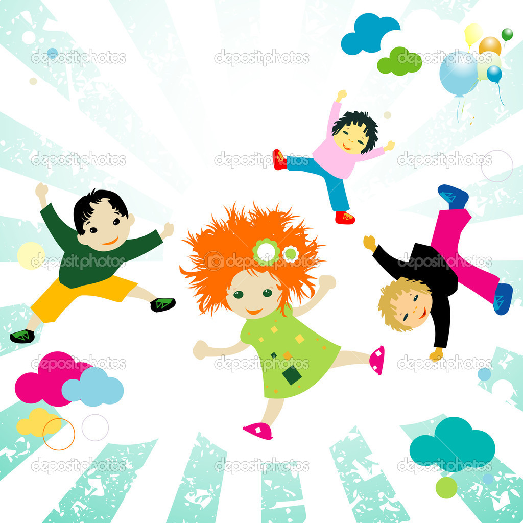 Abstract design with happy kids jumping — Stock Photo #1626271