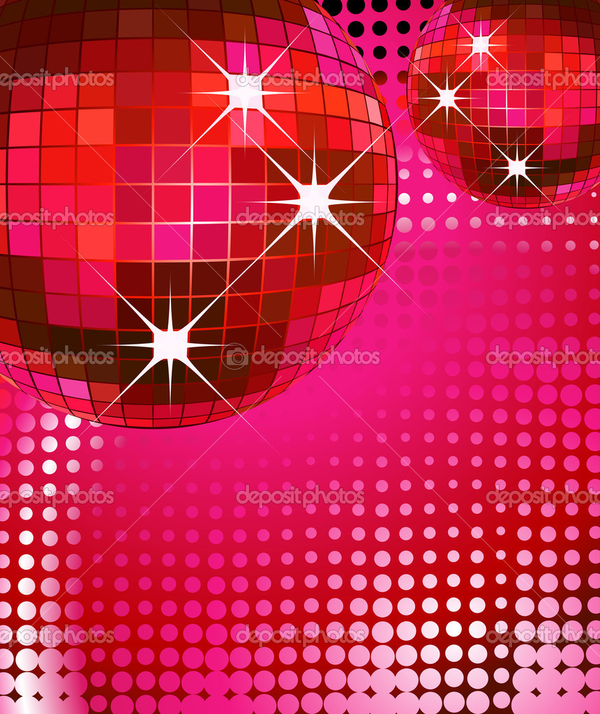 Retro party background with disco ball, illustration — Stock Photo #1641941
