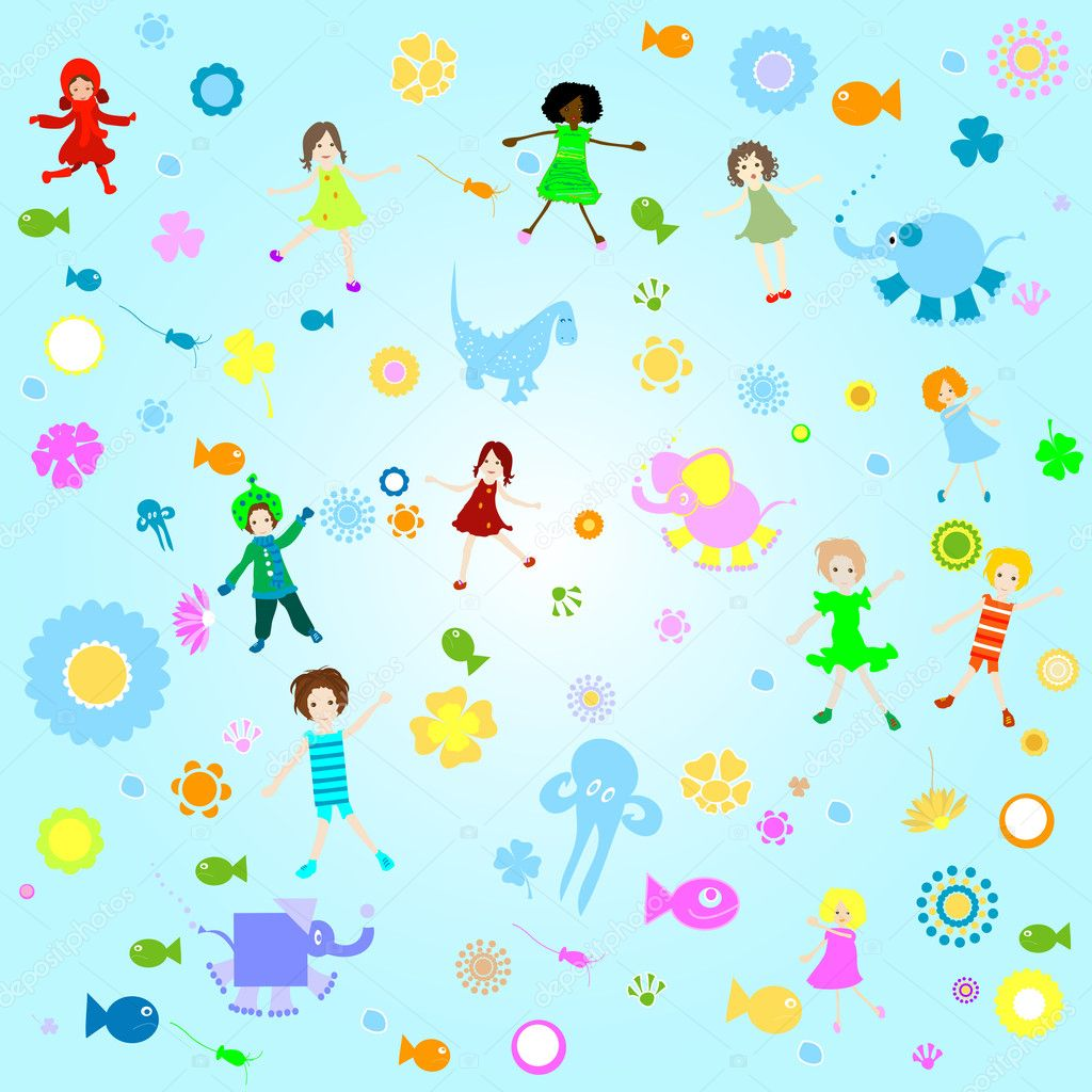 Kids background; seamless pattern with children and colorful flowers — Photo #1750836