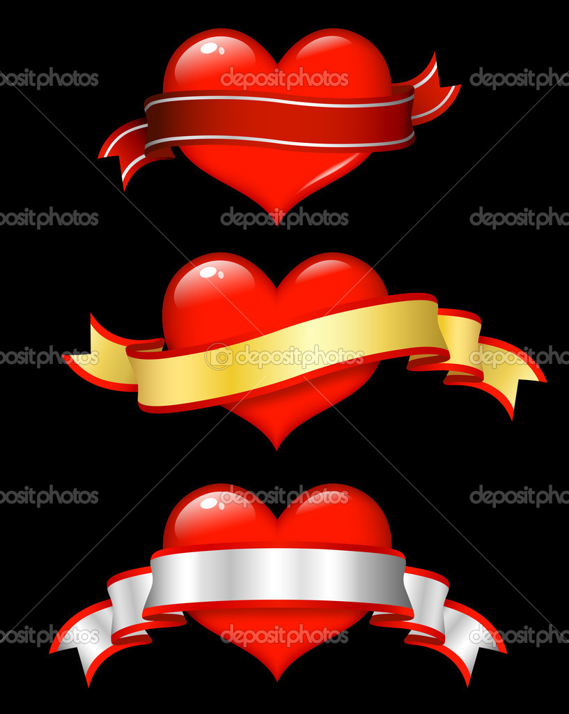 Valentine design; shiny red hearts with scrolls — Stock Photo #2219103