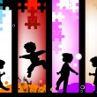 Kids silhouettes — Stock Photo