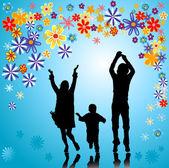 Family silhouettes — Stock Photo