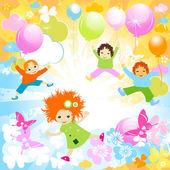 Glada barn — Stockvektor
