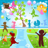 Kids in park — Stock Vector