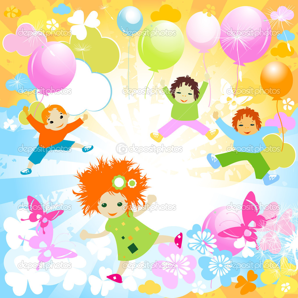 Happy kids playing in the sky — Stock Vector #2528138