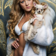 Beautiful blonde with small dog — Foto de Stock