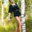 Stock Photo: Woman at the birch