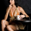 Young woman in the cafe — Stock Photo