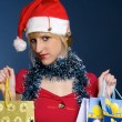 Santa girl with gifts — Stock Photo #1433713