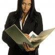 Businesswoman is reading the big book — Stock Photo