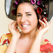 Woman with curlers — Stock Photo #1616835